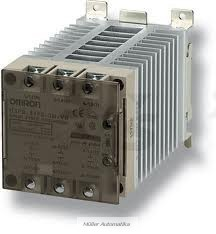 OMRON G3PE-525B-3N DC12-24 nullátmenetes 3-fázisú 200-480VAC/25A/20,7kW-os szilárdtestrelé DC12-24V vezérléssel, hűtőbordával, DIN-sinre