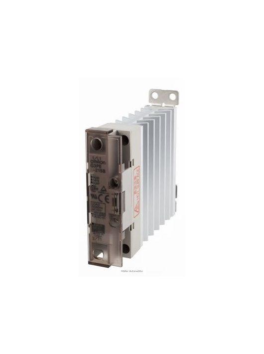 OMRON G3PE-525B-DC12-24 nullátmenetes 200-480VAC/25A/10kW-os szilárdtestrelé DC12-24V vezérléssel, hűtőbordával, DIN-sinre