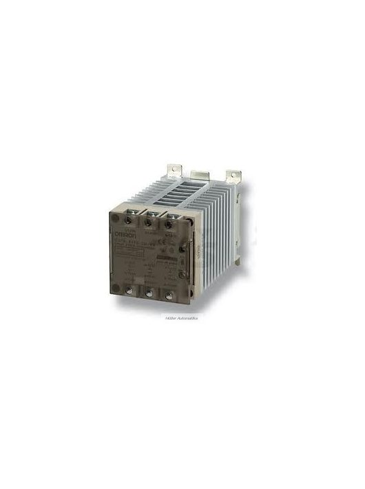 OMRON G3PE-535B-2N DC12-24 nullátmenetes 2-fázisú 200-480VAC/35A/29kW-os szilárdtestrelé DC12-24V vezérléssel, hűtőbordával, DIN-sinre