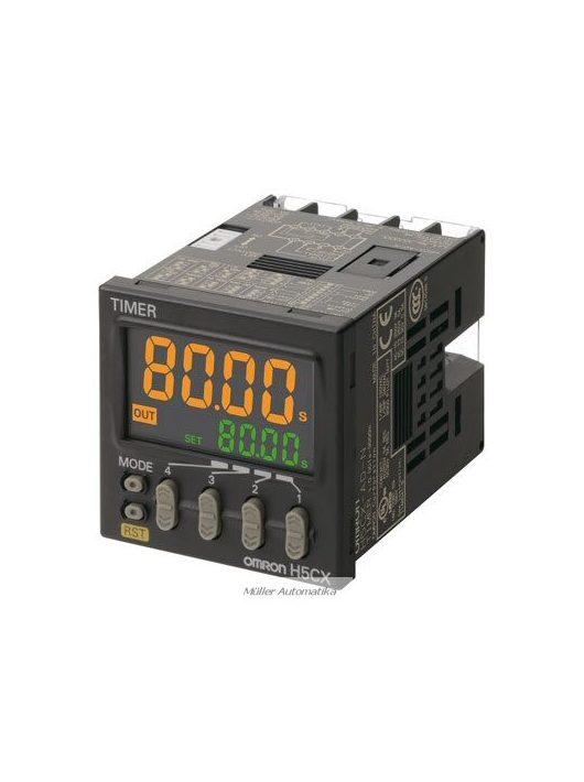 H5CX-AD-N előlapba építhető időzítő digitális időzítő12-24VDC/24AC-os tápfeszültségre relés kimenettel